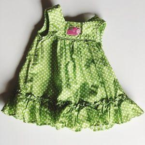 Carter's Green polka dot dress with Ladybug 3M